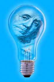 ben franklin light bulb franklin face and light bulb stock photo image of electrical blue