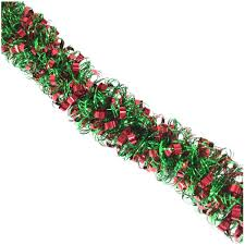 trim a home 10 u0027 curly tinsel christmas garland in red and green