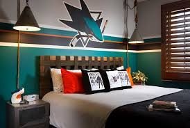 metal nightstand in contemporary with sport themed bedroom
