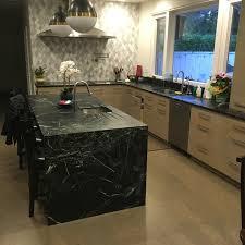 Pratima Soapstone Kitchen W Waterfall Island  Tile Backsplash - Soapstone backsplash