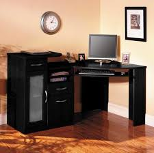 furniture old fashioned black computer desk with white computer