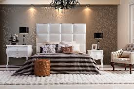 modern high headboard bed with black crystal chandeliers and