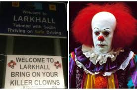 bring it on halloween costume locals stick up warning sign in larkhall lanarkshire scotland