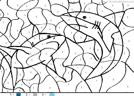 animal color number color number sharks coloring pages