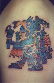 a tribal of an aztec eagle warrior who wears an eagle