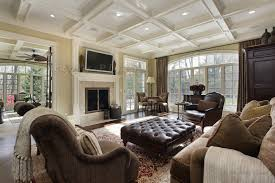 Large Family Room With Fireplace And Wall Of Windows Images Of - Decorating a large family room