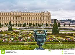 famous palace versailles with beautiful gardens royalty free stock