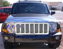 jeep commander black headlights jeep commander 2006 2010 aluminum billet grille insert