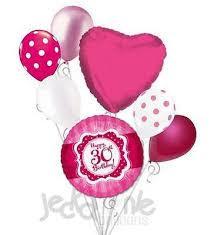 30th birthday balloon bouquets hot pink polka dots happy 30th birthday balloon bouquet