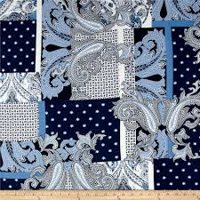 french designer rayon crepe swirl geo patchwork blue white