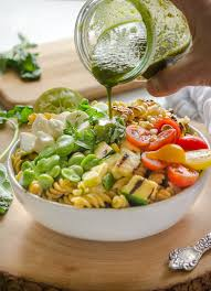 Summer Garden Pasta - grilled vegetable succotash pasta salad the pulse by chickapea