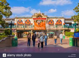 city park halloween entrance to the disneyland resort paris theme park decorated for