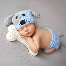 baby props 2pcs newborn photography props crochet knit briefs hat dog