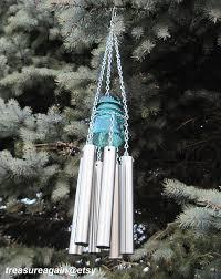Upcycled Garden Decor Insulator Garden Windchime Recycled Tea Light Holder Reclaimed