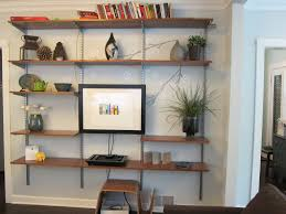 built in wall living room shelves combine wooden fireplace mantel