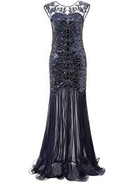 buy mermaid vintage 20s style gatsby flapper navy blue long