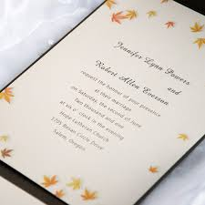 autumn wedding invitations autumn maple leaves brown pocket wedding invitations iwps077