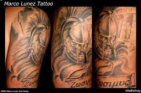 realism spartan warrior half sleeve tattoos real photo pictures