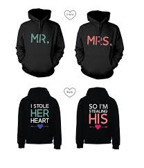 his and hers wedding gifts sweater mr and mrs stealing heart stealing heart hoodies