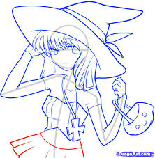 how to draw an anime witch anime witch step by step