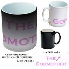 Godmother Mug Godparent Black Colour Changing Mug Godmother Godfather Will You