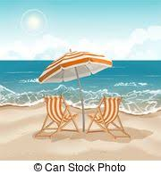 Beach Umbrella And Chairs Clipart Vector Of Beach With Palm Trees Chair Umbrella And A
