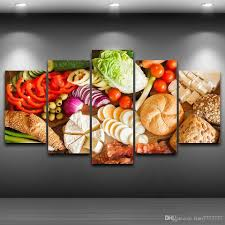 2017 5 panel unframed vegetables food material canvas paintings