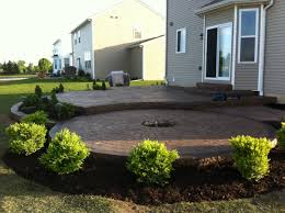 Stamped Concrete Backyard Ideas Stamped Concrete Patio Two Levels With A Fire Pit Ring Outdoor