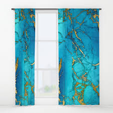 Teal Window Curtains Gold And Teal Blue Indigo Malachite Marble Window Curtains By