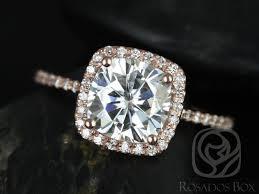 gold halo engagement rings rosados box 7 5mm 14kt gold cushion f1 moissanite