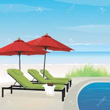 Lounge Chair Umbrella Relaxing Resort On Tranquil Beach With Pool Lounge Chairs And