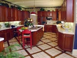 Cherry Cabinet Kitchen Kitchen Tile Floor By And Decor Plano With Cherry Cabinets Stool