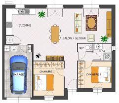 plan maison 2 chambres plain pied plan maison 2 chambres plain pied garage immobilier pour tous