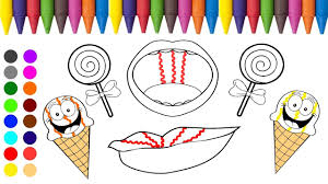 ice cream lollipop and lips coloring games l coloring book for