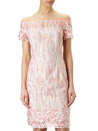 papell lace dress papell shoulder lace dress exclusive coral multi