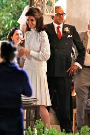 kennedy camelot katie holmes glows as jackie kennedy in her wedding dress in the