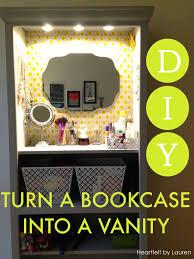How To Do A Bookshelf Diy Turn A Bookcase Into A Vanity Heartfelt By Lauren