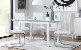 White Glass Extending Dining Table Space White Glass Extending Dining Table With 6 Perth White Chairs