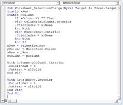 how to highlight row and column of selected cell using vba in