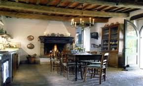 french country kitchen fireplace video and photos