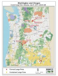 a map of oregon wildfires northwest interagency coordination center 07 01 2017 or wa large