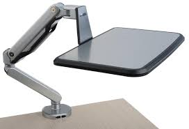 Adjustable Laptop Stand For Desk by Clamp On Laptop Shelf Articulating Arm W Swivel Tray