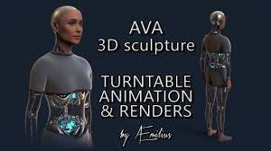 ava ex machina 3d sculpture turntable animation u0026 renders