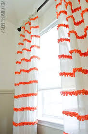 White Curtains With Pom Poms Decorating Diy Embellished Curtains An Anthropologie Swing Stripe Curtains