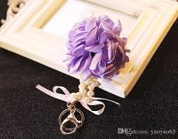 korean flower keychain flower pearl luxury car ornaments