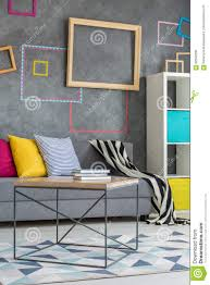 colorful pillows for sofa grey sofa with colorful pillows stock photo image 82940234