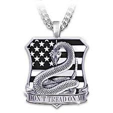 engraved pendant necklace american pride dont tread on me mens pendant necklace