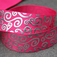 printed grosgrain ribbon silver swirls foil print grosgrain ribbon 22mm med x 5m many