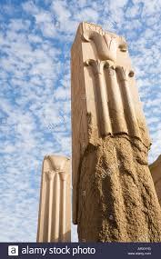 granite pillars with lotus and papyrus decoration temple of amun