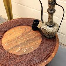 large round coffee table brown solid wooden hand carved indian
